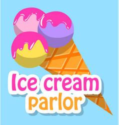 Frozen cream in waffle cone ice-cream logo vector
