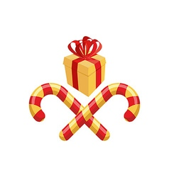 Gift and Christmas Lollipop Logo for Christmas vector image