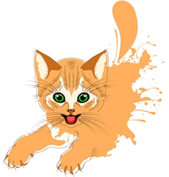 Ginger cat grunge vector