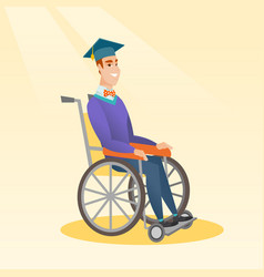 graduate sitting in wheelchair vector image