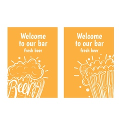 Hand drawn flyers with beer in glass mug with text vector