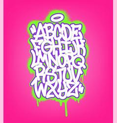 Handwritten graffiti font alphabet set on pink vector