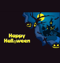 happy halloween poster template paper cut vector image
