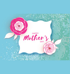 happy mother s day greeting card pink paper cut vector image