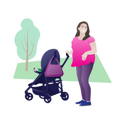 Happy mother walking with child nice smiling vector