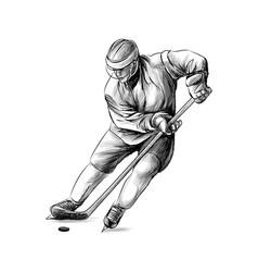Hockey player hand drawn sketch winter sport vector