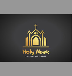 Holy week gold logo template graphic vector