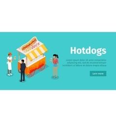 Hotdogs Conceptual Isometric Web Banner vector image