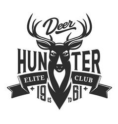 Hunter club badge wild deer hunting vector