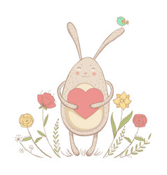 In love rabbit with heart vector