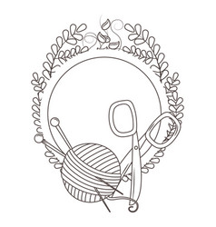 Isolated yarn ball and scissor tailor shop vector