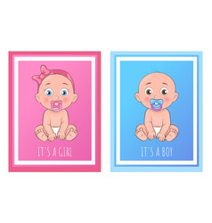 its a boy and girl posters set newborn toddlers vector image