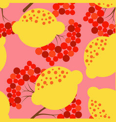 lemon and rowan pattern vector image