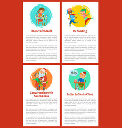 Letter to santa claus handicraft presents poster vector