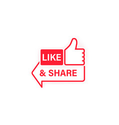 like and share icon thumbs up social network vector image