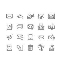 Line mail icons vector