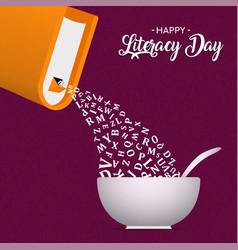 Literacy day card book alphabet as cereal box vector