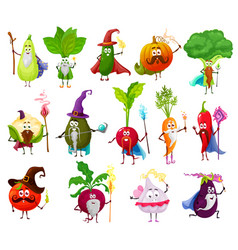 Magician witch and fairy wizard veggies vector