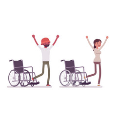 Male female young wheelchair user rehabilitation vector