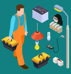 master electrician and tools isometric set vector image