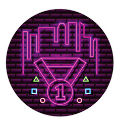 Medal award number one neon video game wall vector