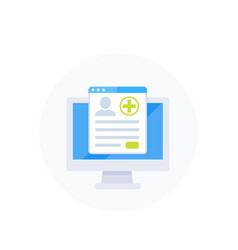 Medical history online service icon vector