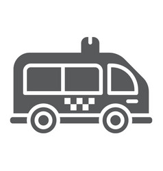 mini bus glyph icon automobile and car minivan vector image