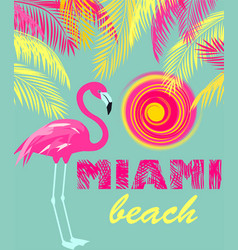 Mint color poster with miami beach lettering sun vector
