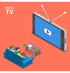 Mobile TV isometric flat vector