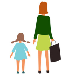 mother daughter back view isolated cartoon people vector image