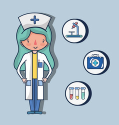 nurse with first aid kit vector image