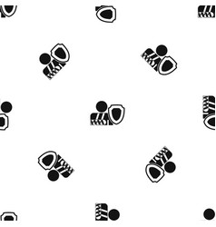 oken arm and safety shield pattern seamless black vector image