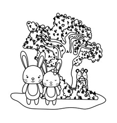 Outline couple rabbit animal and bear next to tree vector