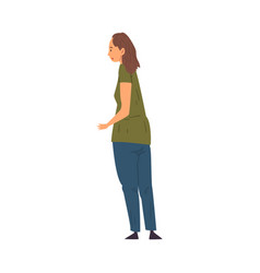 Overweight woman standing back and looking at vector