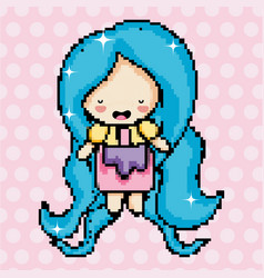 Pixel art cute girl vector