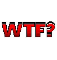 Pixel wtf red text detailed isolated vector