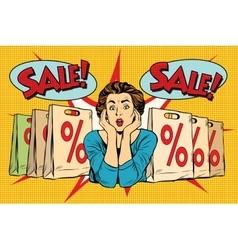 Pop art surprised woman sales discounts buyer vector
