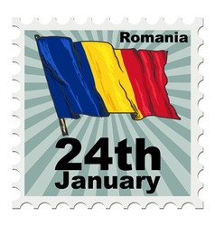 post stamp of national day of Romania vector image