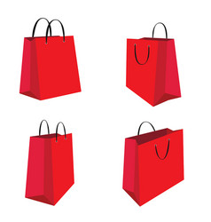 Red shopping bag set isolated on white background vector