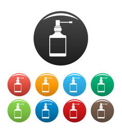 respiration spray bottle icons set color vector image