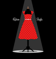 Retro red dress on manikin vector