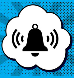 Ringing bell icon black icon in bubble on vector