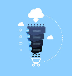 Sales funnel with people icon online cloud vector