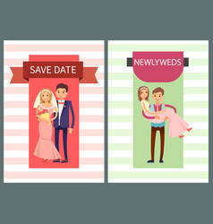 save date and newlyweds set vector image