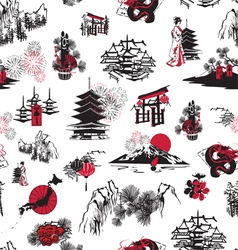Seamless pattern Japanese New Year vector