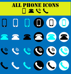 set 24 phone and contact icons isolated vector image