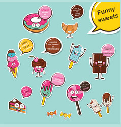set funny desserts and sweets cartoon face vector image