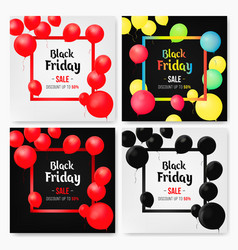 set of mobile sale banners with shiny balloons vector image vector image