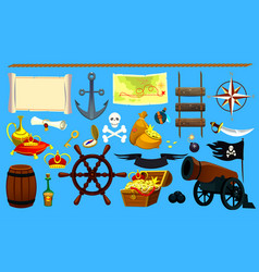 set of pirate items graphic elements logo icon vector image