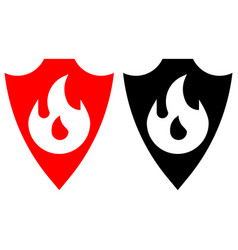 sheild with fire protection vector image